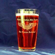 US Air Force Aviator set of 4 16oz etched beer glasses