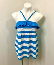 Justice Girls Top sz 20 Blue White Stripe Strappy Ruffle Sequin T-Shirt Summer