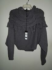 NWT BCBG MaxAzria Heather Gray Fringe Cable Cowl Wool Blend Sweater Large