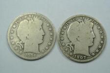1906-O & 1907 Barber Half Dollars, Good Condition - C2158