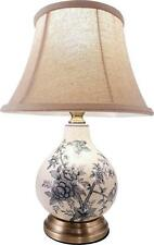 Gorgeous Floral and Birds Ceramic Cream / Blue  Bedside / Table Lamp With Shade