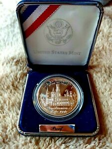 1996 SMITHSONIAN 150TH ANNIVERSARY PROOF SILVER DOLLAR IN CASE