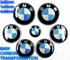 NEW BMW 7pcs BMW CARBON BLUE Emblems Full Set,Wheel cover hood trunk e60 e61