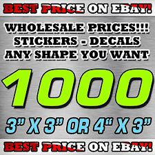 """1000 CUSTOM STICKERS 3""""X 3"""" OR 4""""X 3"""" / DECALS / ELECTION POLITICAL BEST PRICE"""