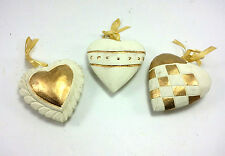 Hand Carved Wooden Hearts Hanging Christmas Ornaments  White Gold Set Of 3 New