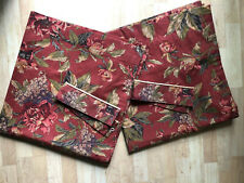 """PAIR Croscill Serena Floral Red 40""""x88"""" Lined Curtain Drapery Panels w/Tie Backs"""