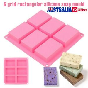 6 Cavity Silicone Rectangle Soap Mould Cake Chocolate Making Homemade DIY Mold !