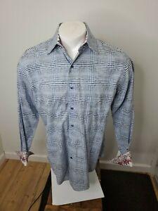 Robert Graham Flip Contrast Cuff Geometric Check Classic Fit Button Up Shirt M