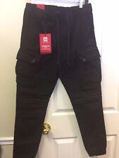 Victorious Men's Elastic Waistband Cargo Pocket Jogger Pants JG896 Black Medium
