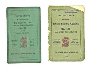 Vintage Antique Singer Instruction Manual No. 99 Lot Of 2