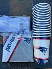 Party Pack New England Patriots - 40 16 oz Paper Cups Paper Napkins + 20 Forks