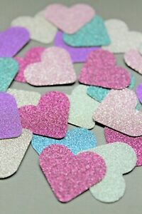 50 x SPARKLY HEARTS CARD 2.5cm LOVE HEARTS CARD MAKING CRAFT EMBELLISHMENTS
