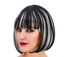 Femme noir argent diva perruque halloween gothique straight bob accessoire robe fantaisie