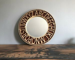 •EUC• Rare Pottery Barn Kids •Alphabet Mirror• Solid Wood Detailed Mirror