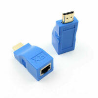 2pcs Blue 1080P HDMI to RJ45 Extender Ethernet Adapter for CAT-5e / 6 Cables