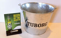 Rare Tuborg Beer Ice Bucket & Rare Vintage Tuborg Beer of The Month Table Topper