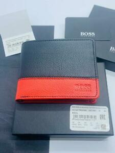 BRAND NEW HUGO BOSS MADIAL MENS BLACK AND RED LEATHER WALLET