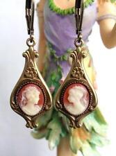 Vintage Style Victorian Nouveau Dangle Earrings Cameo Antiqued Goldtone Dainty