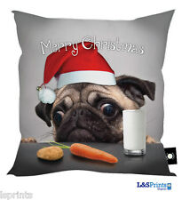 "MERRY CHRISTMAS PUG DOG WITH CARROT DESIGN 18"" X 18"" CUSHION GREAT GIFT IDEA"