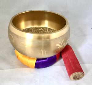 Large Tibetan Singing Bowl 5'' With Silk Cushion  Buddhism/ Meditation Gong