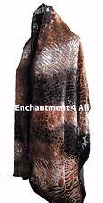 Elegant 100% Silk Burnout Velvet Leopard Oblong Scarf Wrap, Camel/Black