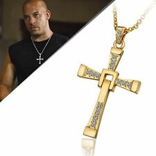 The Fast & The Furious Vin Diesel Dominic Gold Cross Pendant Necklace with Chain
