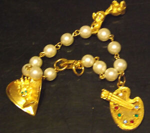 Beautiful White Pearled Bracelet  with Charms Jewelry