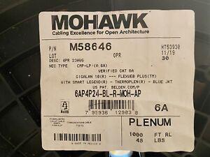 Belden Mohawk M58646 23/4P GigaLAN 10 UTP CAT6A Cable Plenum 10G Blue 850' Spool