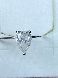 Golden 14 K 585 Diamant Ring 1.01 Ct SI1 D Farbe