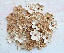 fatto a mano 2cm tela di iuta MINI perline fiori - 40 CONFEZIONE naturale
