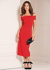 KAEIDOSCOPE LADIES RED TEXTURED STRETCH JERSEY BARDOT DRESS SIZE UK 22 BRAND NEW