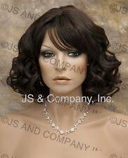 Heat Safe HUMAN HAIR Blend Curls Wavy Dark Brown wig WBSE 4
