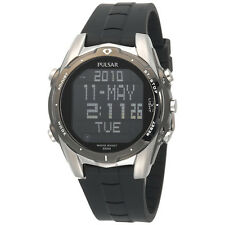 Pulsar PQ2003 Mens Digital Calendar World Time Alarm Black Rubber Strap Watch