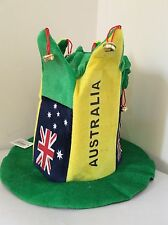 dfb1d5a1858 Aussie Australia Flag Green And Yellow Top Hat With Bells Australian day