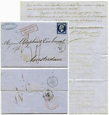 FRANCE 1857 to NETHERLANDS FRANKING INSUFFICIENT BOXED in RED 20c +LETTER SIGNED