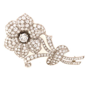 Platinum Maurice Tishman Diamond Flower Pin