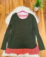 Matilda Jane Womens  Cardigan Sweater Size Medium Long sleeve top green red