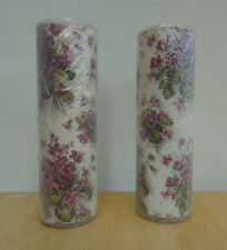 New Pair of Vintage SUGAR FROSTED GLASS PILLAR CANDLES w/ Violets Orig Plastic