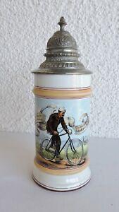 alter Bierkrug Radfahrer Zunftkrug Zinndeckel Oldtimer Halbrenner um 1910
