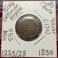 Turkey 20 Para AH1223/28 Silver Ottoman Empire Mahmud II 1835.٢٠ بارة عثمانية