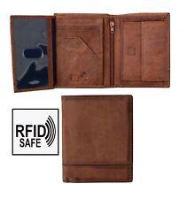 Prime Hide Men's Designer Rugged Cognac Vertical Leather Trifold Wallet RFID