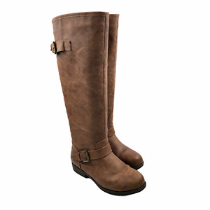 Journee Collection Tall Riding Boots Brown Shoes Round Toe Zipper/Buckle Size 8