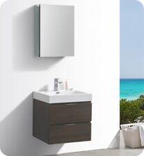 "Fresca Valencia 24"" Gray Oak Wall Hung Modern Bathroom Vanity with Medicine Cab."