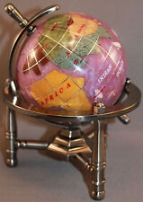 Multi-Gemstone 90mm Desktop Globe in Purple Pearl - Pewter Tone Base Free S&H