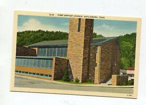 Linen Mint Post Card - First Baptist Church - Gatlinburg Tennessee - G-14