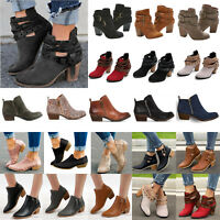 Womens Ankle Boots Block Mid Heels Ladies Chunky Booties Chelsea Shoes Sized