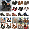 Women's Ankle Boots Block Mid Heels Casual Chunky Buckle Booties Chelsea Shoes