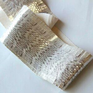 Real Snake Leather Snakeskin Hide Shoemaking Sewing Craft Supply Metallic White