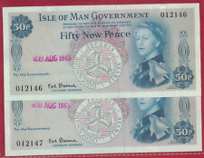 IOM Isle of Man Manx 1969 50p Banknote Serials 012146-7 signed Stallard FDI