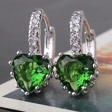 Glamorous design emerald earring! leverback 18k white gold filled FIT earring